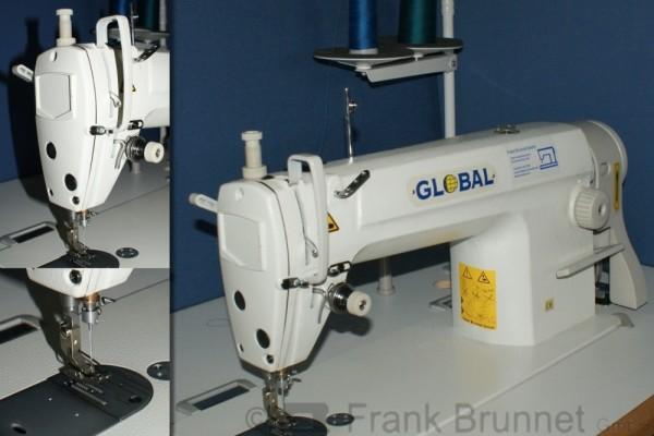 Schnellnaeher-Global-303-D-Industrienaehmaschine-220V-Naehtisch-220-V-Motor-komplett-montiert-eing
