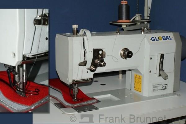 Global 1245 Ledermaschine Polstermaschine gebraucht. 220 Volt Stopmotor, komplett montiert und einge